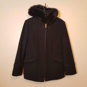Preston & York 100% Wool Black Coat Real Fox Fur